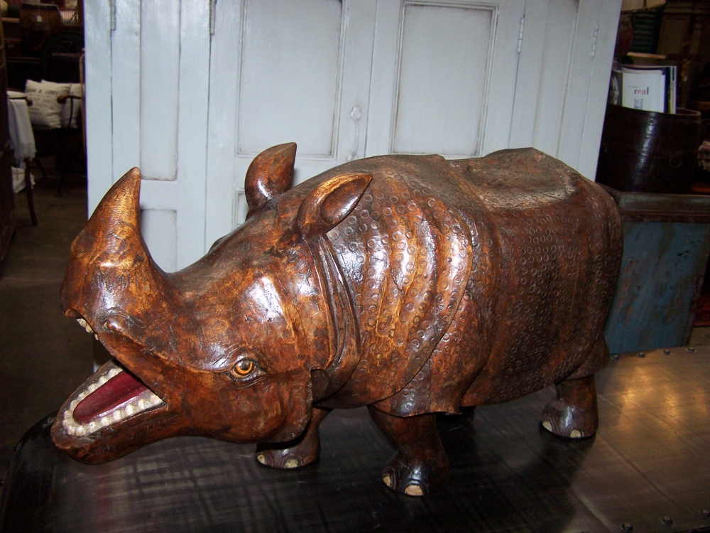 Rhinoceros Wooden Hand Carved At Bashford Antiques