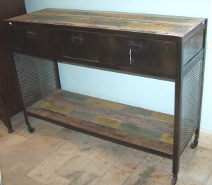Image of Industrial wood & metal 3 drawer console